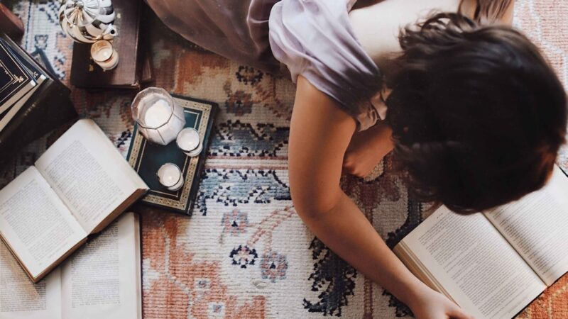 Reading on rug