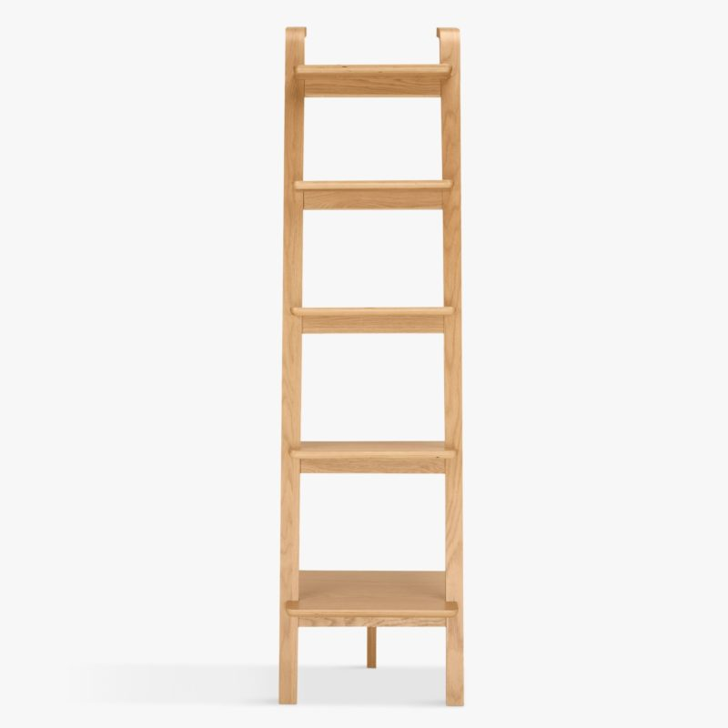 Oak ladder shelf with curved top