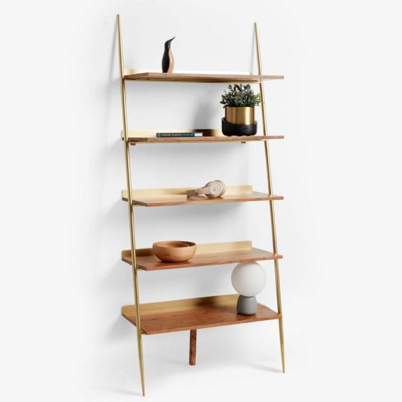 Wide ladder shelf with gold frame