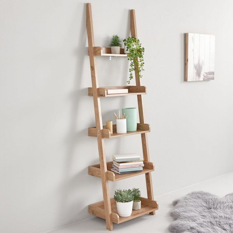 Oak effect 5-tier ladder shelves