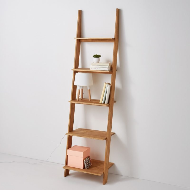 Oak 5 tier ladder shelf
