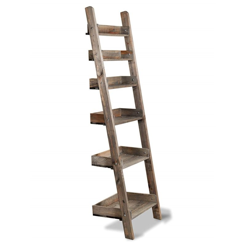 Rustic Oak Ladder Shelf