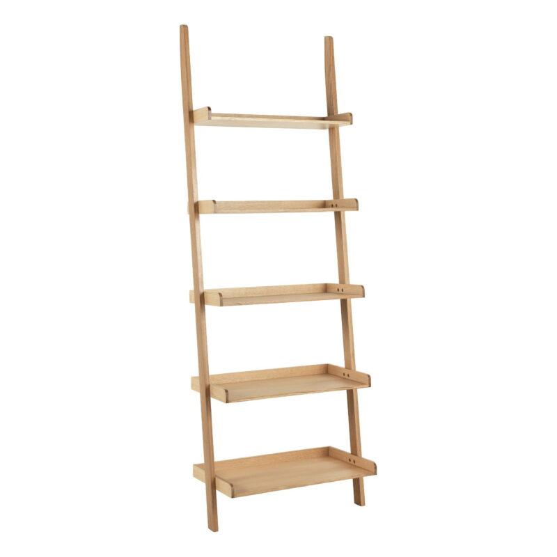 Oak finish leaning ladder shelf