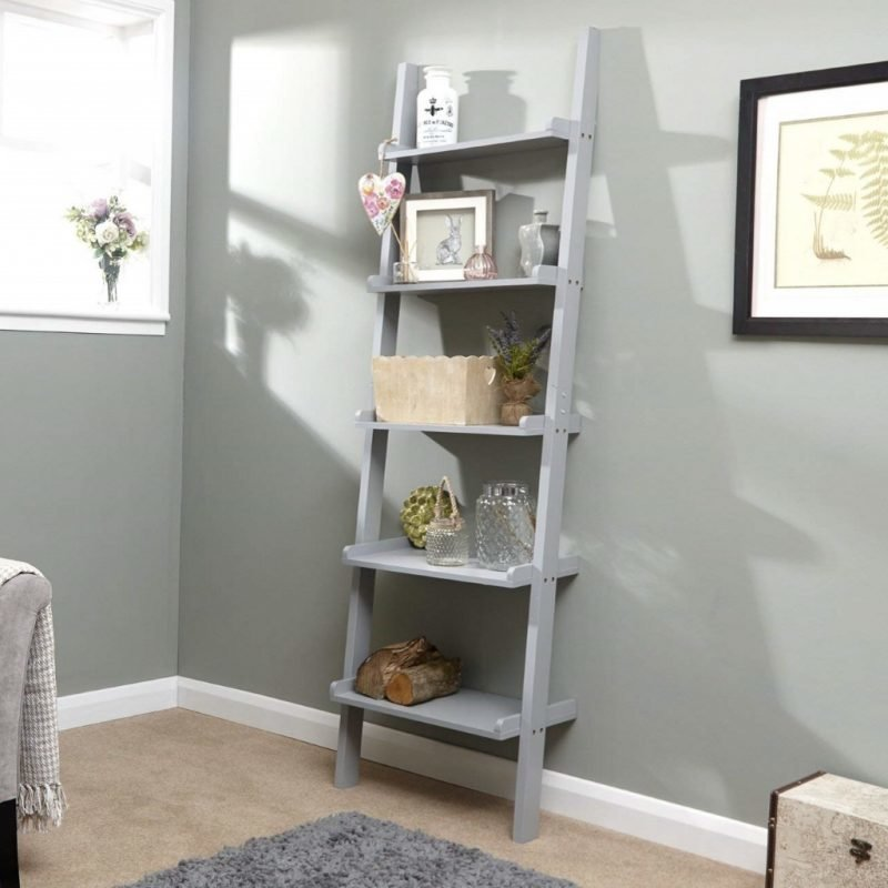 Grey painted leaning ladder shelf