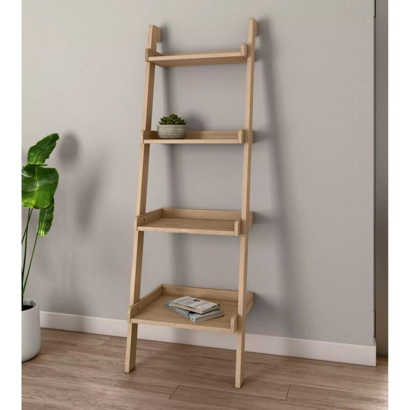 4-tier oak ladder shelf unit