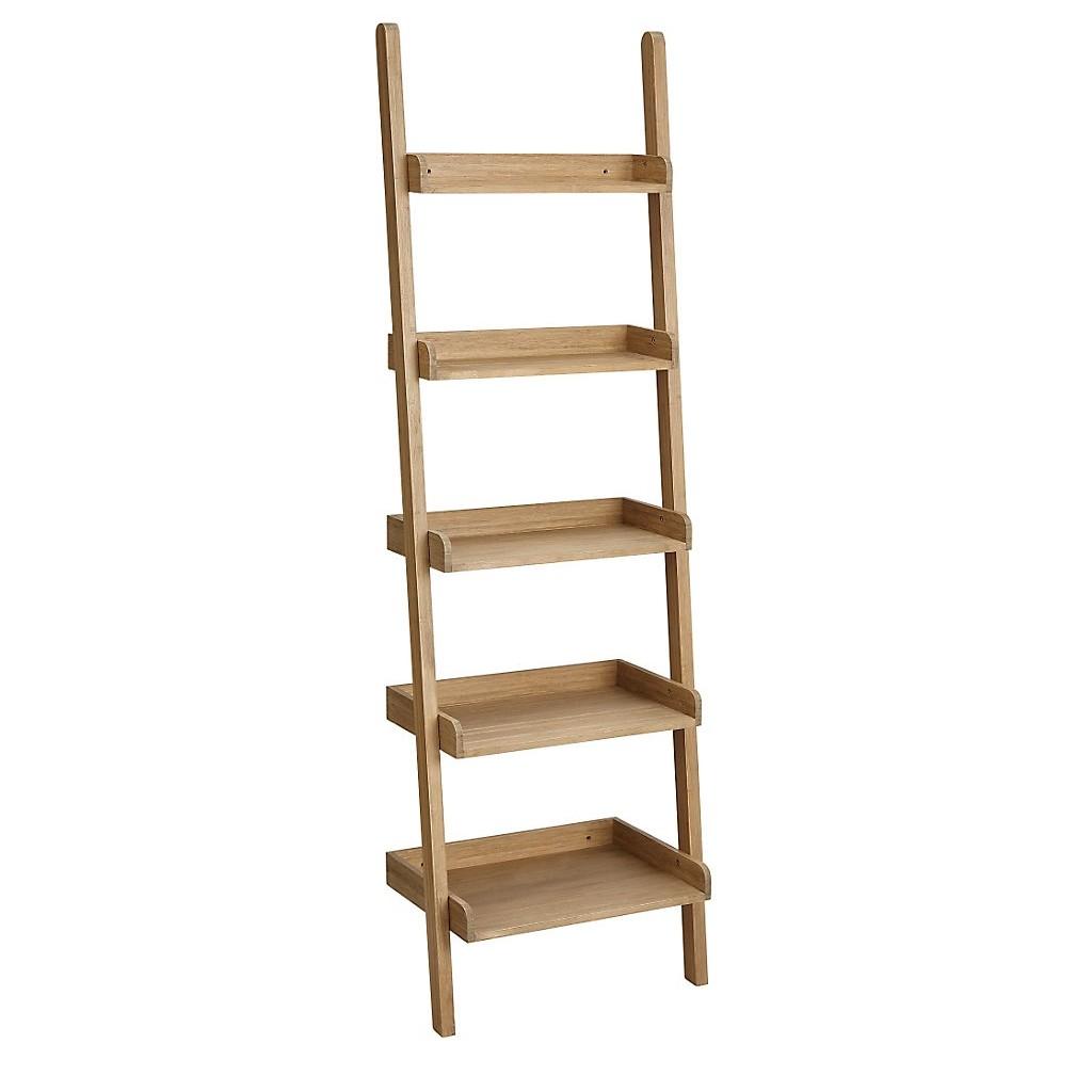 leaning ladder style bookshelves