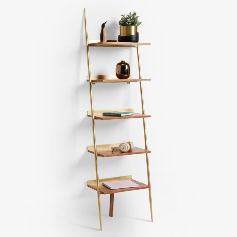 Narrow 5-tier ladder shelf with gold frame