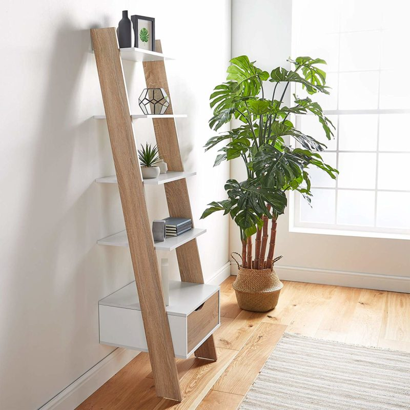 White and oak leaning ladder shelf