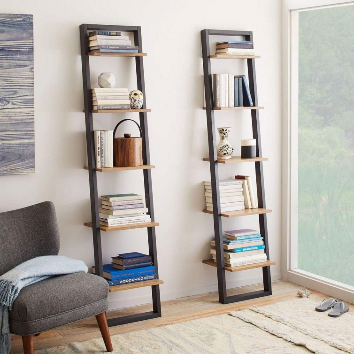 2 colour leaning ladder shelves