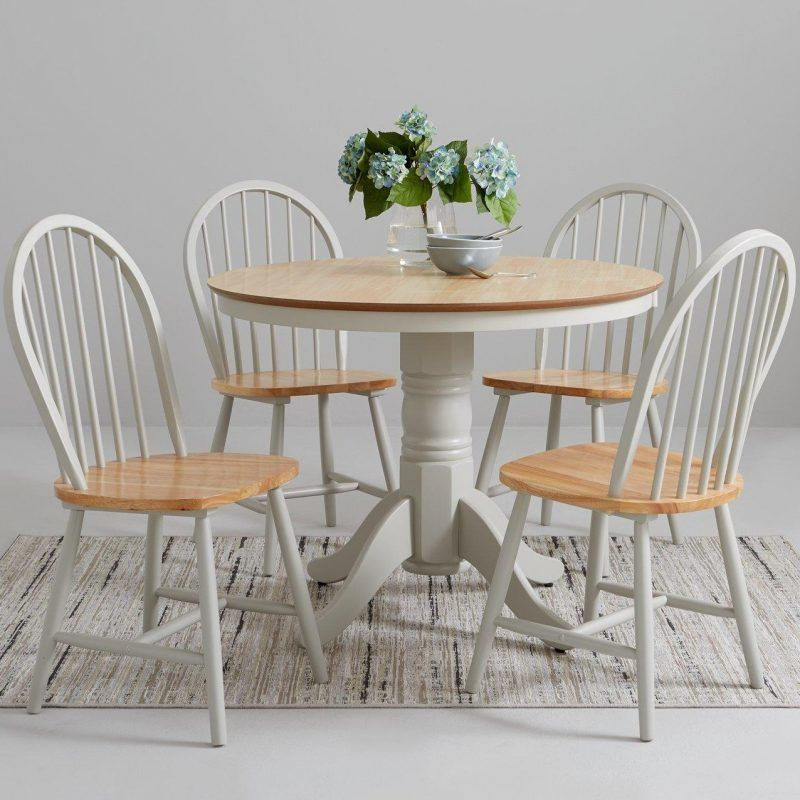 Grey painted circular dining table and 4 chairs