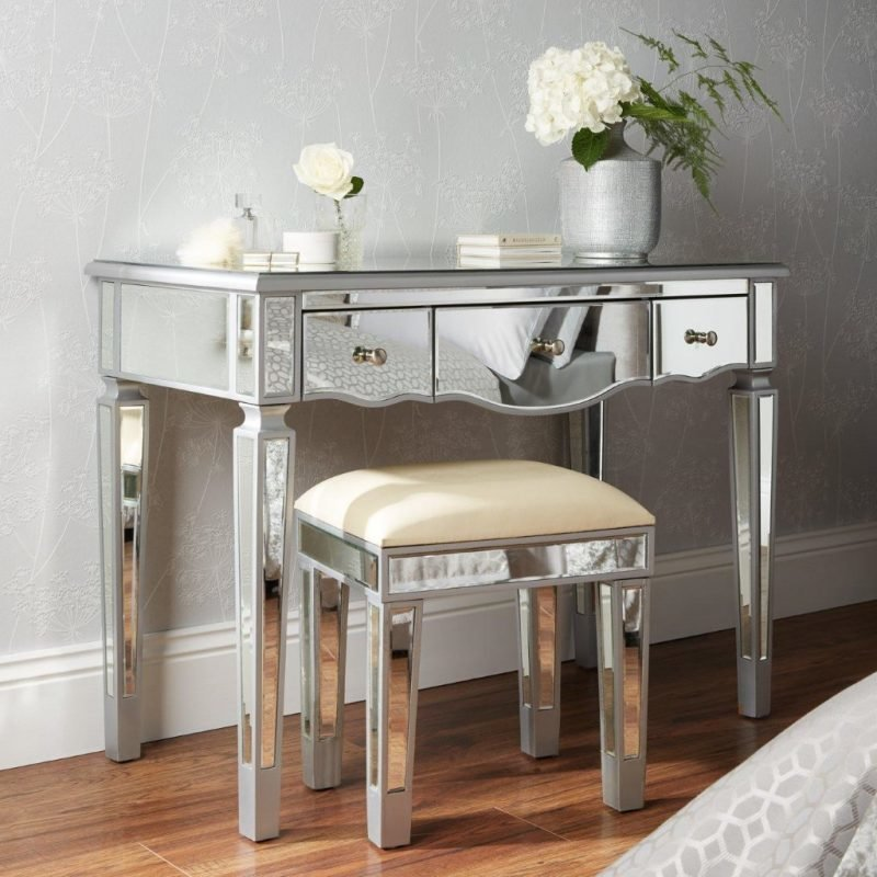 Mirror finish dressing table with stool