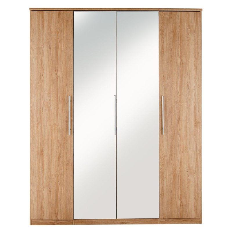 4-door oak mirrored wardrobe