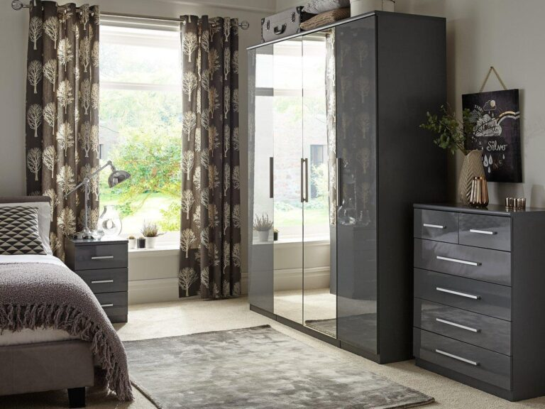 Gloss finish bedroom furniture