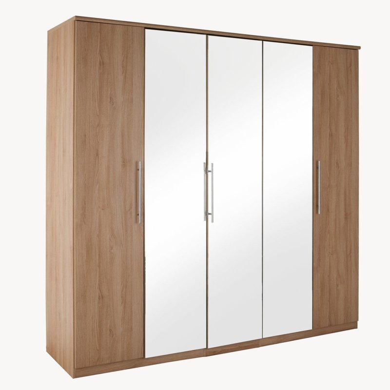 %-door oak wardrobe with 3 mirrored doors