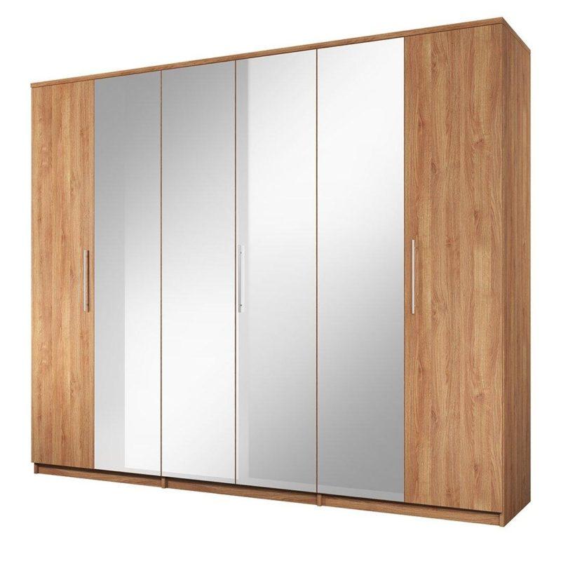 6 door oak mirrored wardrobe