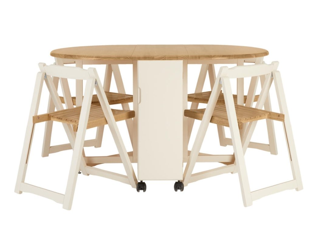 Cream and natural wood folding dining table plus 4 chairs