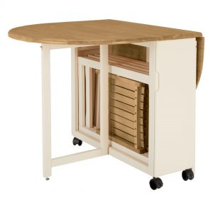 Drop leaf table with chairs stored inside