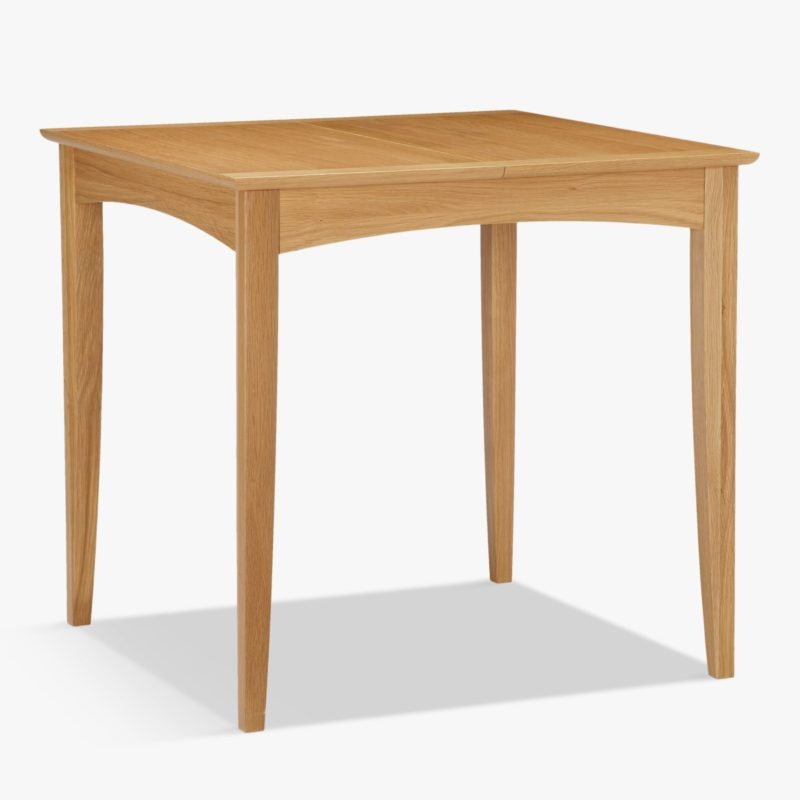 Square extendable dining table with oak finish