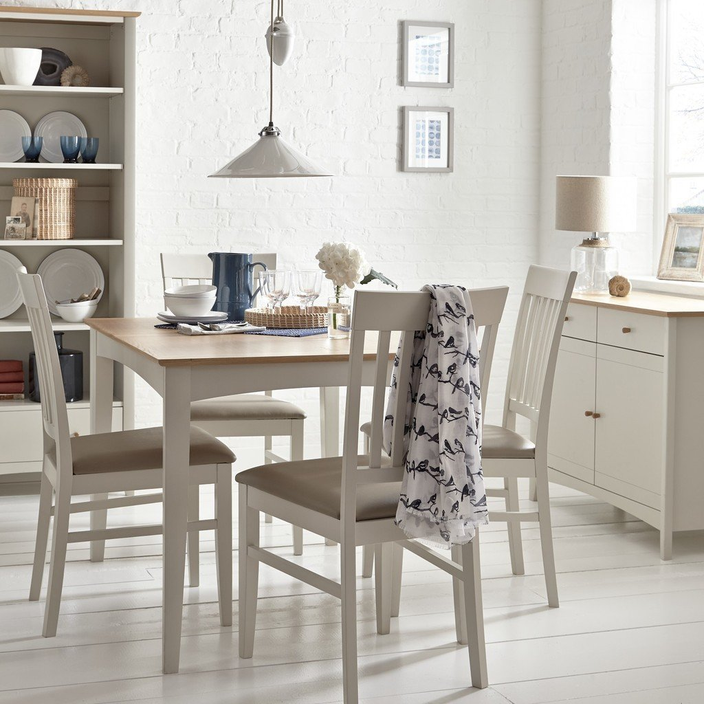 Extending table with oak top and grey-painted frame