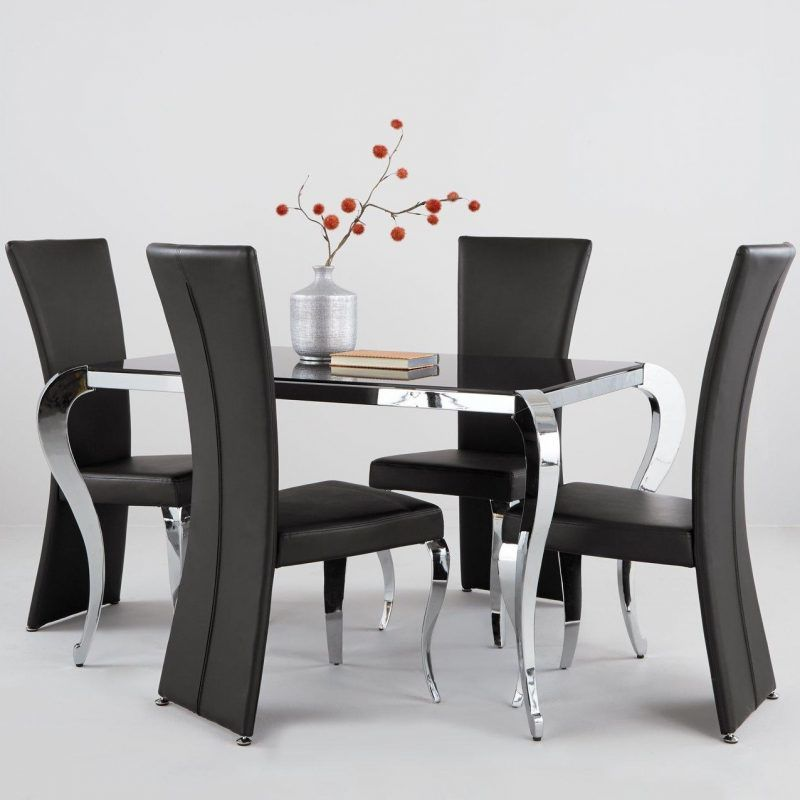 Queen Anne style dining table with glass top and 4 chairs
