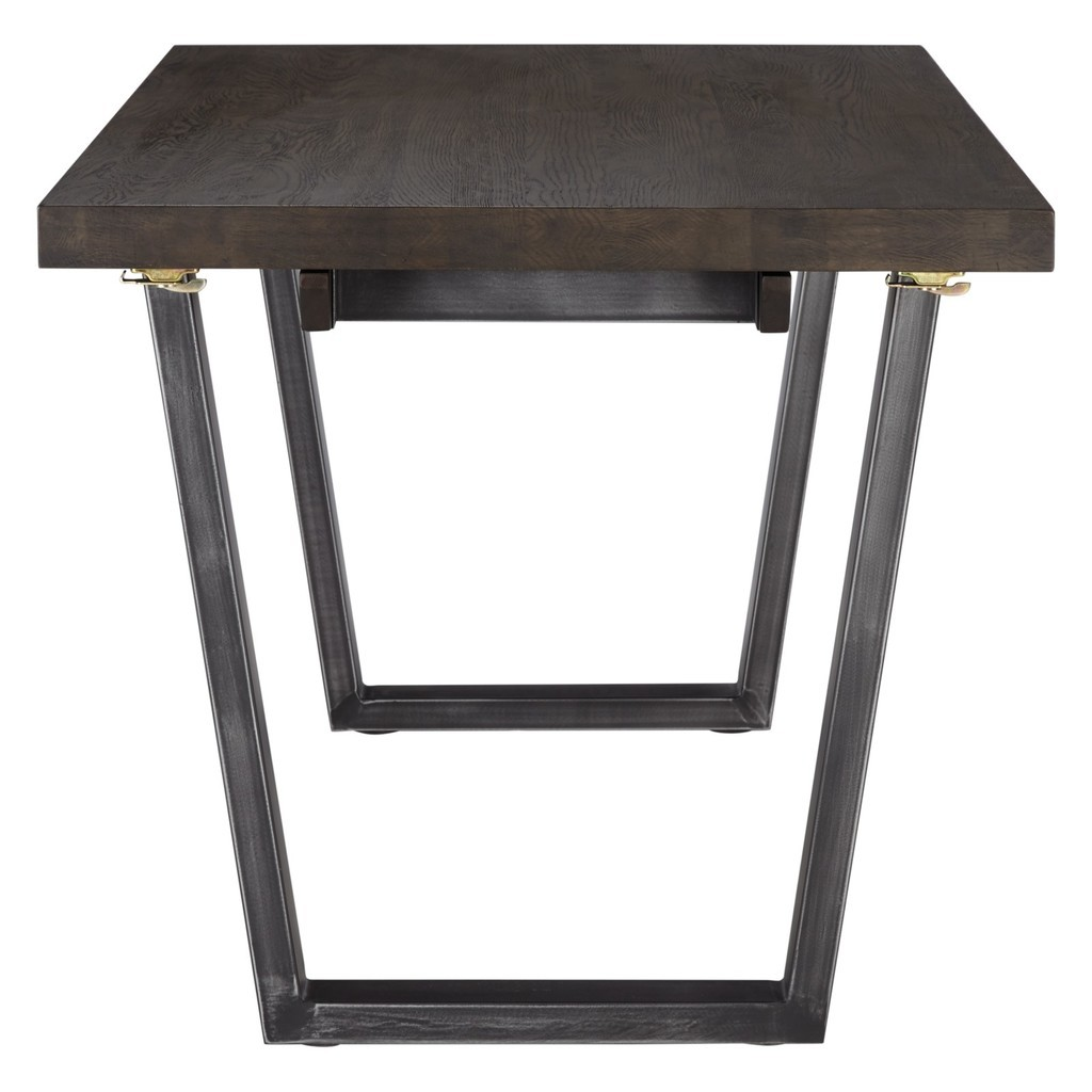 Metal frame dining table with dark oak top