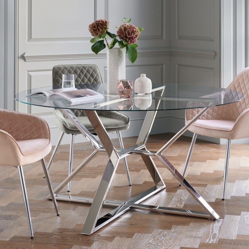 Stainless Steel & Glass Dining Table