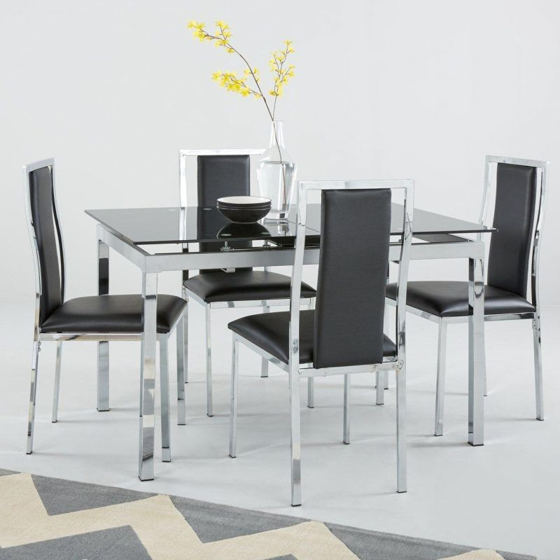 Chrome frame dining table with black glass top and 4 matching chairs