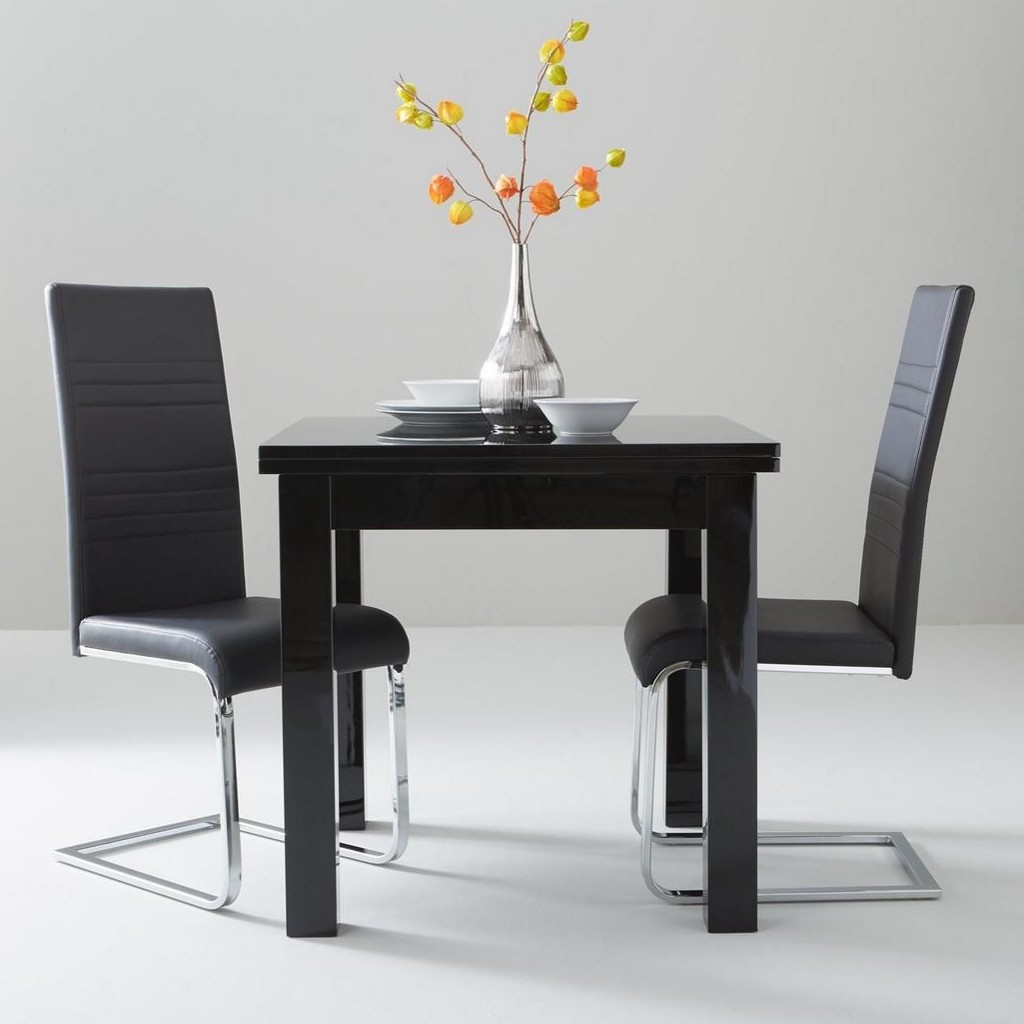 Kendall Square Dining Table And 2 Cream Chairs Stocktonandco : Gloss Square To Rectangle Table 2 Jet Chairs from stocktonandco.com size 1024 x 1024 jpeg 88kB