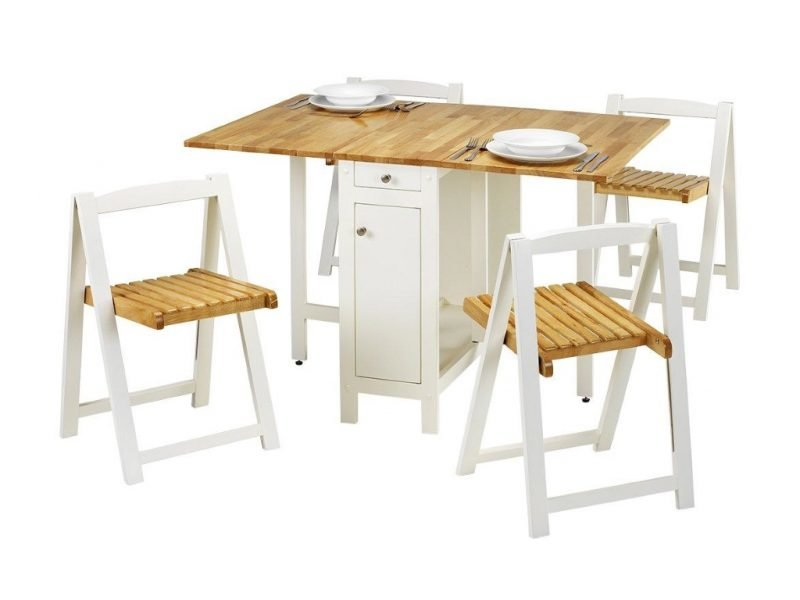 White and oak veneer dining set with 4 chairs