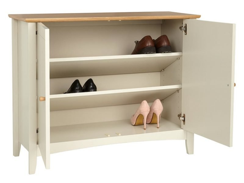Grey painted shoe cupboard