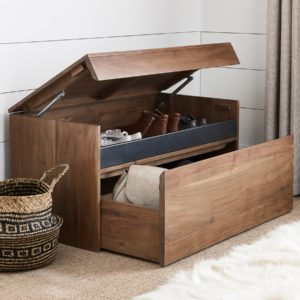 Wooden storage trunk with hinged lid and drawer