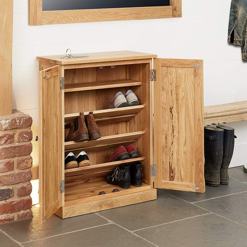 Oak shoe cabinet with 4 shelves