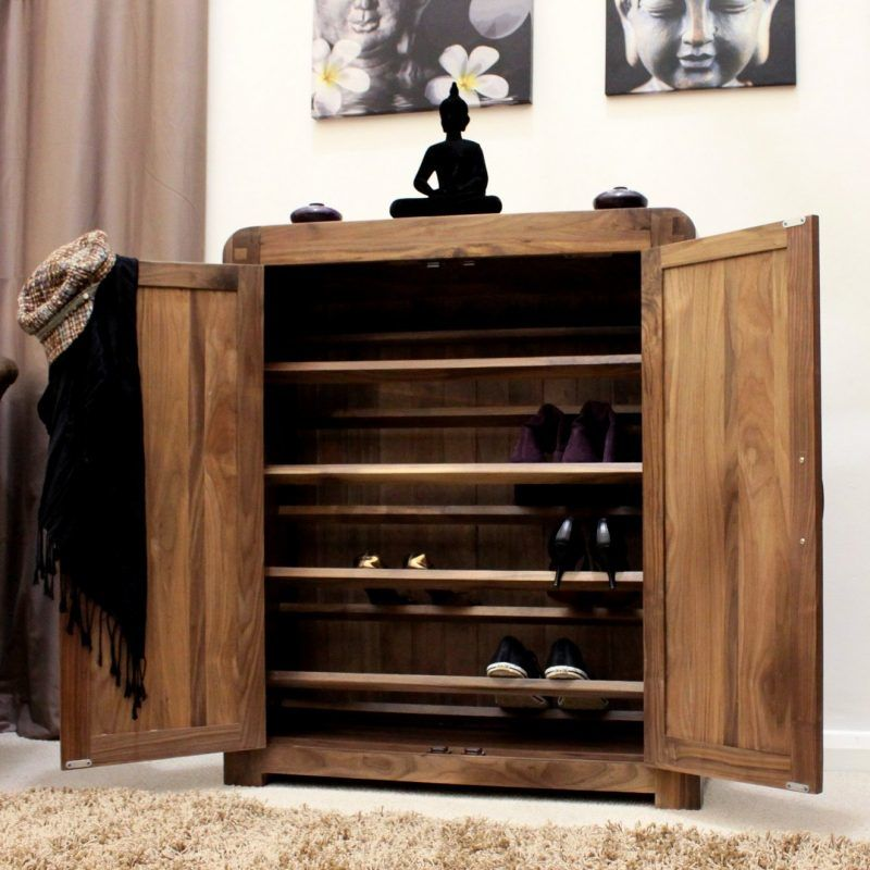Walnut shoe cupboard