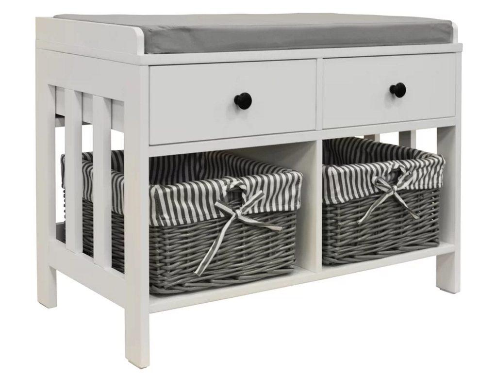 White storage bench with 2 baskets