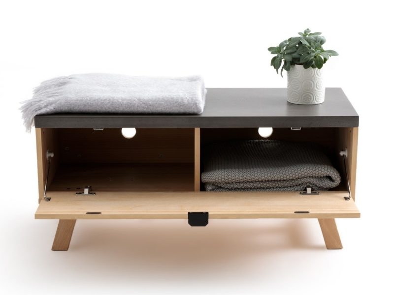 Modern bench with grey top and drop-front