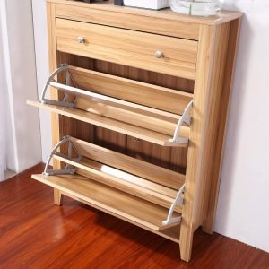 Oak effect shoe cabinet
