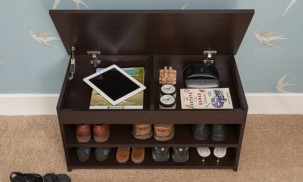 Dark wood shoe cabinet with lift up lid