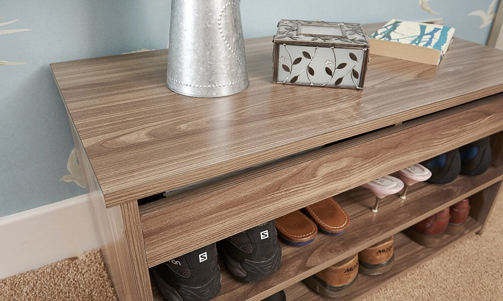 Walnut colour shoe cabinet