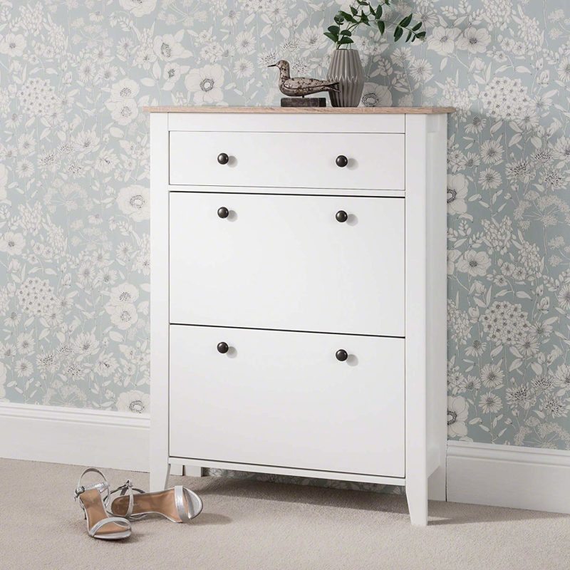White shoe cabinet with oak top