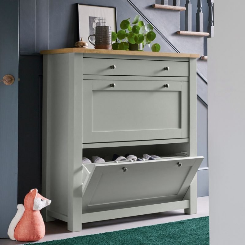 Grey painted shoe cabinet and drawer