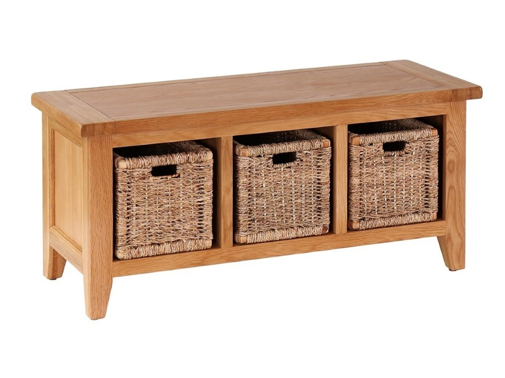 Rustic oak storage bench with 3 woven baskets