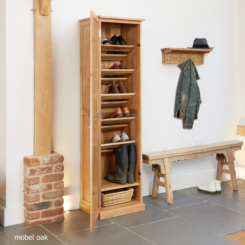 Tall oak shoe cupboard