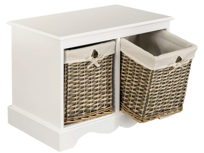 White-painted storage bench with two baskets
