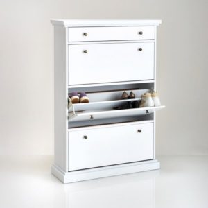 White-painted shoe cabinet with 3 drop-down drawers
