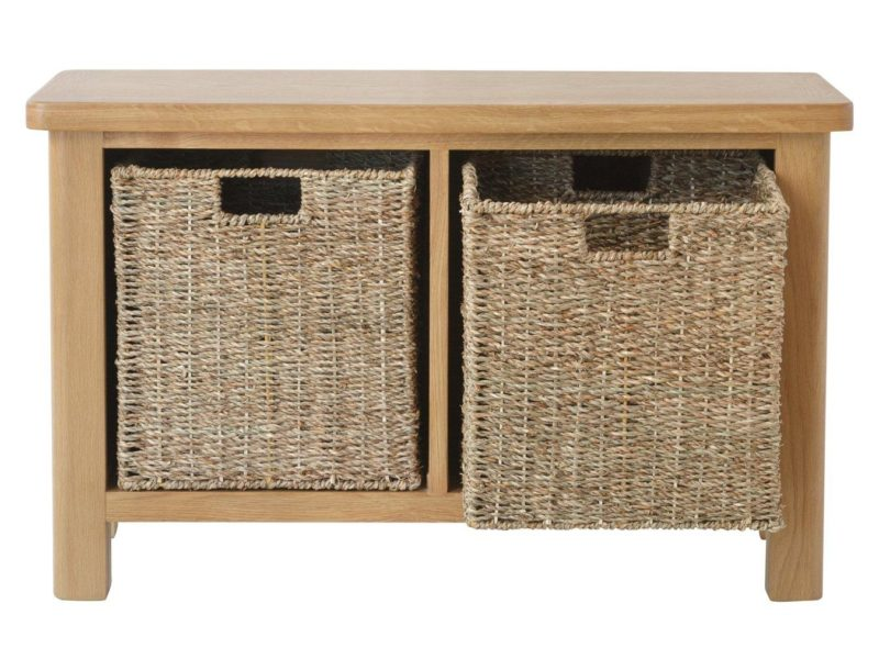 Oak storage bench with 2 baskets