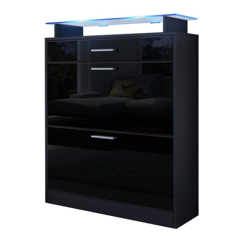 Contemporary black gloss shoe cabinet