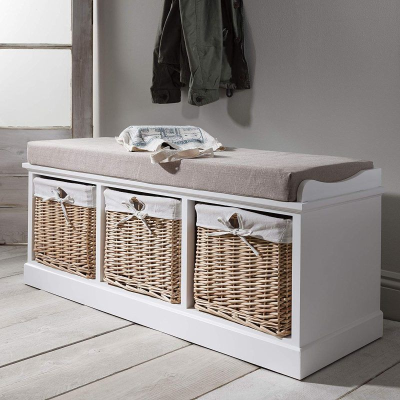 Painted storage bench with baskets and cushion