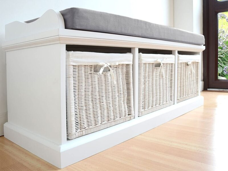 White-painted hallway bench with white wicker baskets