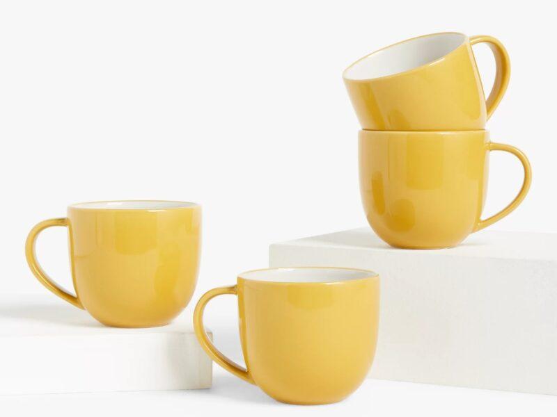 Set of 4 yellow mugs
