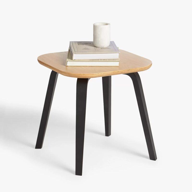 Oak side table with black legs